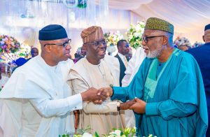 Governor Dapo Abiodun of Ogun State; Lagos State Governor, Mr. Babajide Sanwo-Olu and his Ondo State counterpart, Arakurin Rotimi Akeredolu and during the 55th birthday celebration of Dr. Fayemi in Ekiti, on Sunday, February 9, 2020.