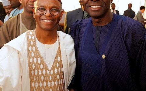 Kaduna State Governor, Mallam Nasir El-Rufai (left) with Lagos State Governor, Mr. Babajide Sanwo-Olu, during El-Rufai's 60th Birthday Celebration and Book Presentation on his Writings and Speeches in Kaduna On Monday, February 17, 2020.