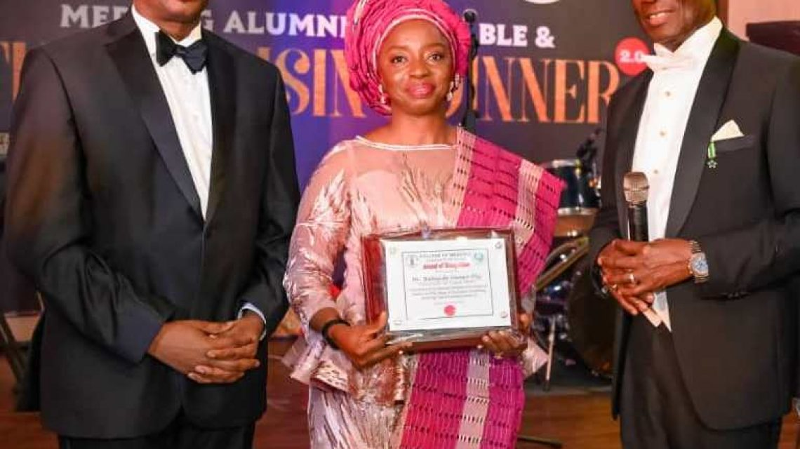 Lagos State First Lady, Dr. (Mrs.) Ibijoke Sanwo-Olu (middle); Provost of College of Medicine, University of Lagos (UNILAG), Professor F.E.A Lesi (left); and Chairman, Planning Committee, Professor Oladapo Ashiru during the 2nd MEDILAG Alumni High Table and Fund Raising Dinner held at Chai Tang Restaurant, Twin Waters, Bluewater Zone, Lekki on Saturday, February 1, 2020.