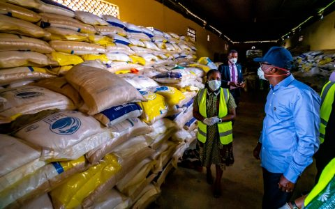 The COVID-19 Emergency Food Response, initiated by the Lagos Government, at the Ministry of Agriculture and Cooperatives premises in Agege, inspected by Governor Babajide Sanwo-Olu on Friday, March 27, 2020.