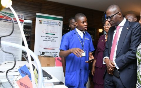 Student of a Lagos Technical College; Commissioner for Education, Mrs. Folashade Adefisayo and Lagos State Governor, Mr. Babajide Sanwo-Olu, during a demonstration at the Education Public-Private Partnership Dialogue at Eko Hotel and Suites, Victoria Island, Lagos on Tuesday, March 3, 2020.