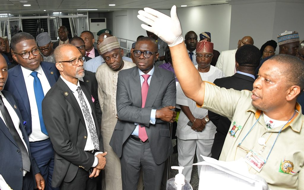 Lagos Commissioner for Health, Prof. Akin Abayomi; Lagos State Governor, Mr. Babajide Sanwo-Olu; Director of Airport Operations, FAAN; Capt. Murktar Muye and Director Business & Commercial Development, FAAN; Mr. Rafindadi Sadiku during an on-the-spot assessment of Coronavirus screening procedure at the Murtala Muhammed International Airport, Lagos, on Tuesday, March 17, 2020.