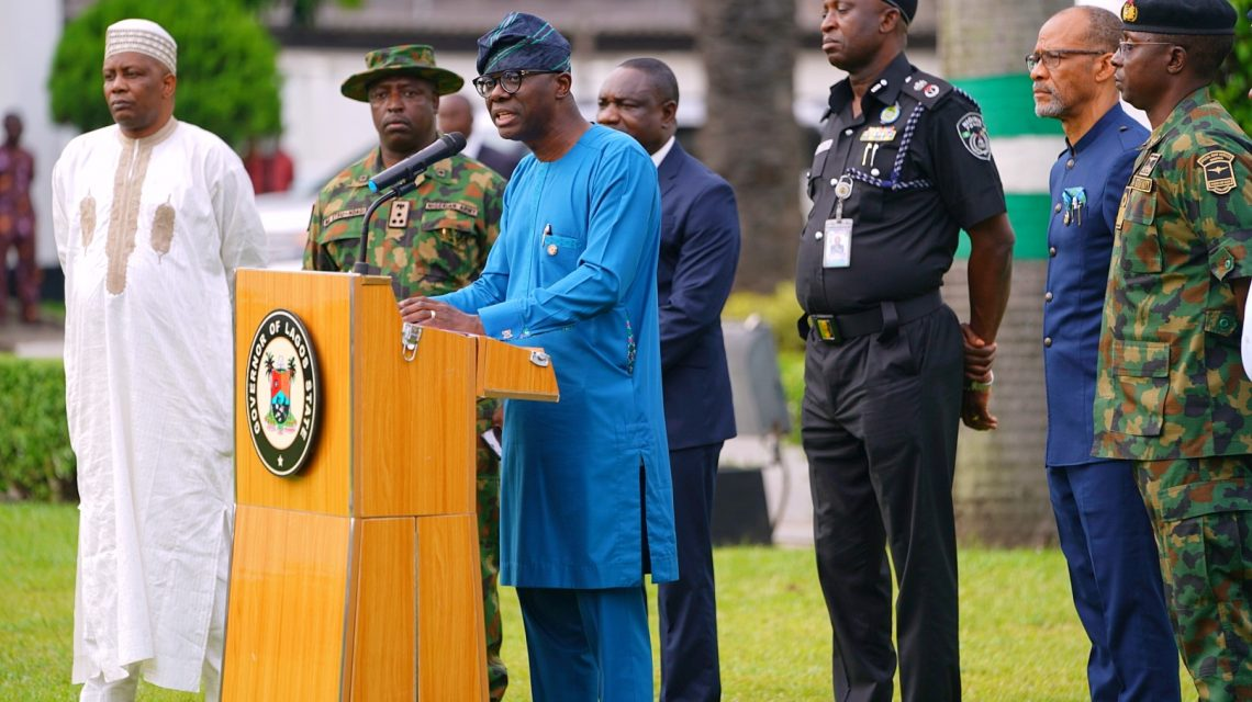 Lagos State Governor, Mr. Babajide Sanwo-Olu (middle), briefing government house correspondents after the State Security Council meeting at Lagos House, Marina, on Tuesday, March 24, 2020. With him (L-R): Director, Department of Security Service (DSS), Mr. Abdulfatai Sanusi; ; Brigade Commander, 9 brigade, Ikeja Army Cantonment, Brigadier General Etsu Ndagi; Commissioner for Information and Strategy, Mr. Gbenga Omotoso; Commissioner of Police, Lagos Command, Mr. Hakeem Odumosu; Commissioner for Health, Prof. Akin Abayomi and Commander, Nigeria Navy Ship (NNS) Beecroft, Apapa, Commodore Ibrahim Aliyu.