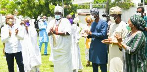 PIX 1887 L-R: Ooni of Ife, Oba Adeyeye Enitan Ogunwusi, Ojaja II; Lagos State Governor, Mr. Babajide Sanwo-Olu; Deputy Governor, Dr. Obafemi Hamzat and Secretary to the State Government, Mrs. Folashade Jaji, during the donation of Motorized Modular Fumigators to the Lagos State Government by the Ooni of Ife, to fight against the COVID-19 pandemic in the State, at Lagos House, Marina, on Tuesday, April 28, 2020.