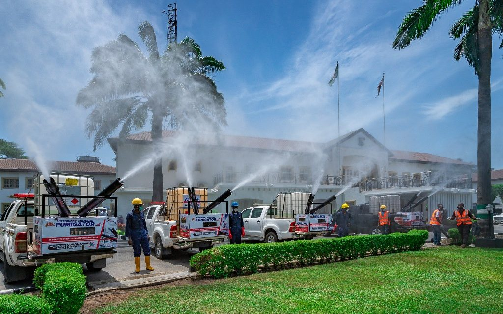 Motorized Modular Fumigator donated to the Lagos State Government by the Ooni of Ife, Oba Adeyeye Enitan Ogunwusi, Ojaja II, to fight against the COVID-19 pandemic, at Lagos House, Marina, on Tuesday, April 28, 2020.