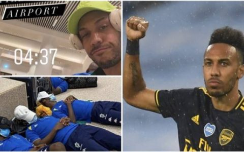 Aubameyang and Teammates Sleep On Airport Floor