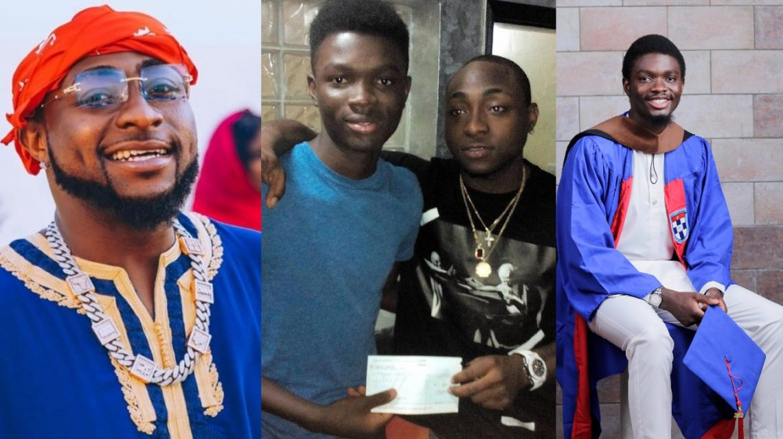 Davido and The Student He Helped Olajide Sanyaolu